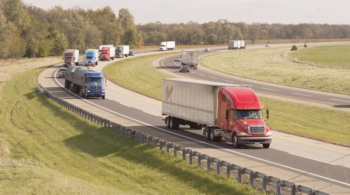 Trucks on an Indiana highway