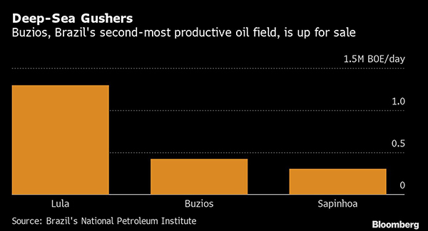 Chart showing production of Brazil's oil fields