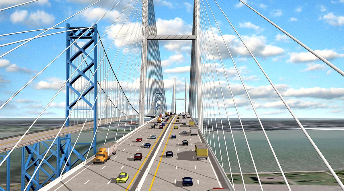 Artistic rendering of Ambassador Bridge with new span