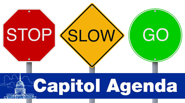Stop, slow, go signs