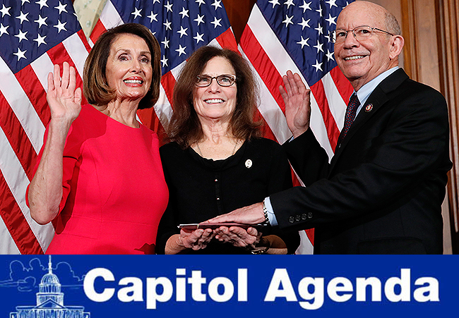 New House speaker Nancy Pelosi (left) with Rep. Peter DeFazio (right)