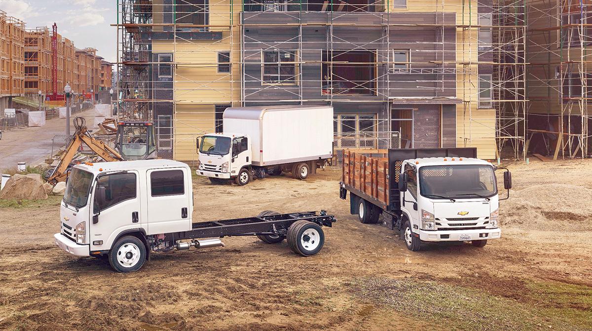 Medium Trucks at a construction site