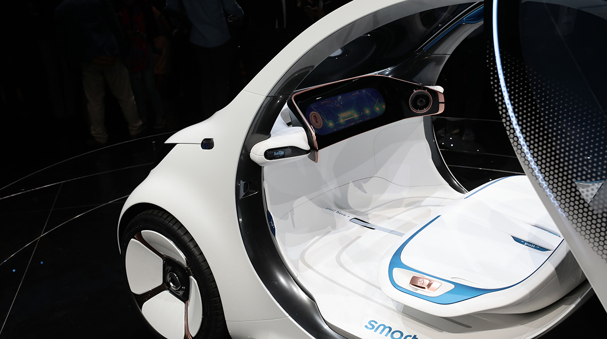A touchscreen dashboard panel and seating sit inside a Daimler Smart Vision EQ fortwo electric autonomous self-driving concept automobile during the Daimler media night ahead of the IAA Frankfurt Motor Show in Frankfurt, Germany.