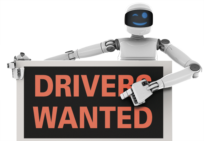 "Robot holding ""Drivers Wanted"" sign"