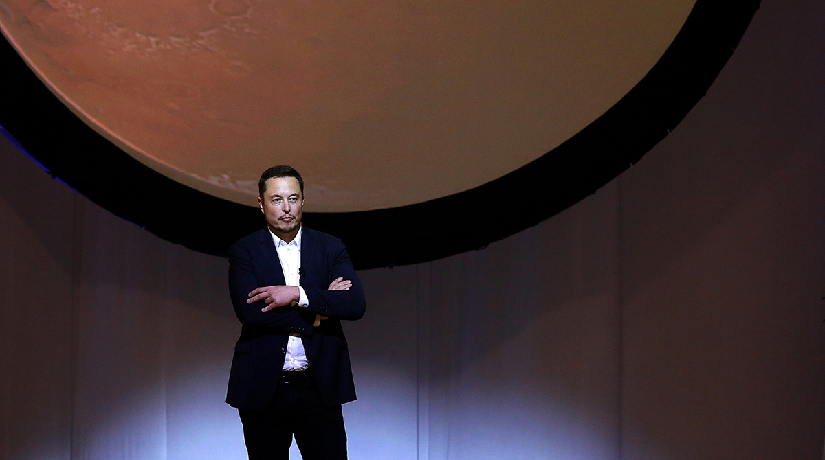 Elon Musk, CEO for Space Exploration Technologies Corp. (SpaceX), pauses while speaking during the 67th International Astronautical Congress in Guadalajara, Mexico