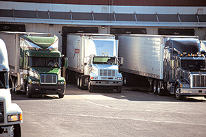 Trucks at a loading dock