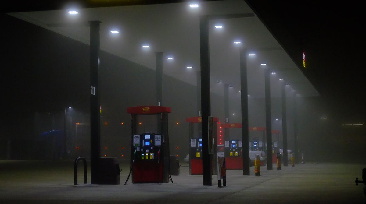 Foggy Gas Station