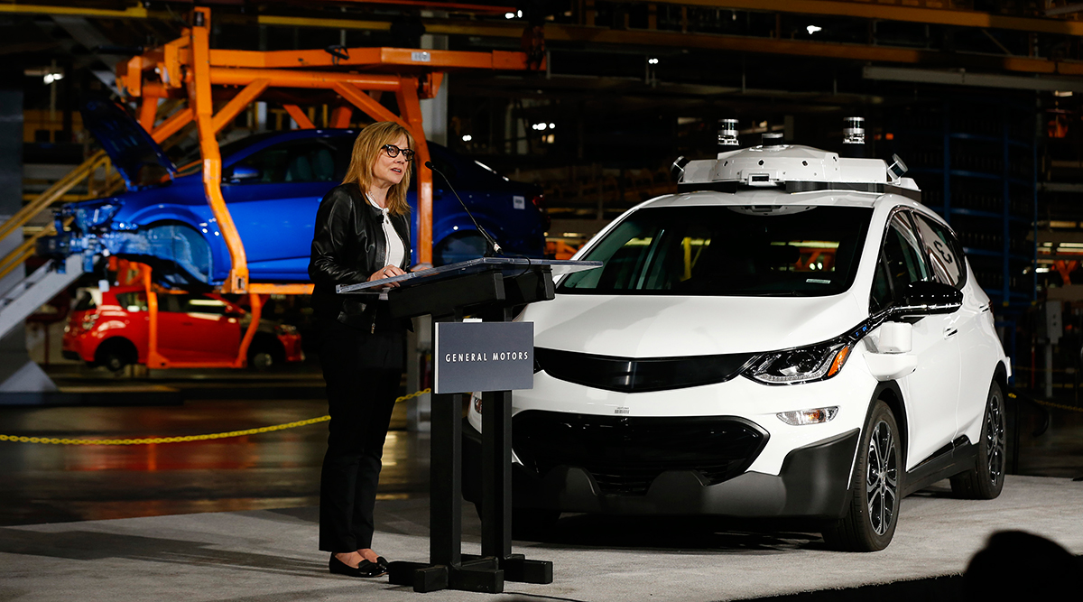 Mary Barra, CEO of General Motors, during an event June 13, 2017 announcing the expansion of its fleet of autonomous Chevrolet Bolts to 180