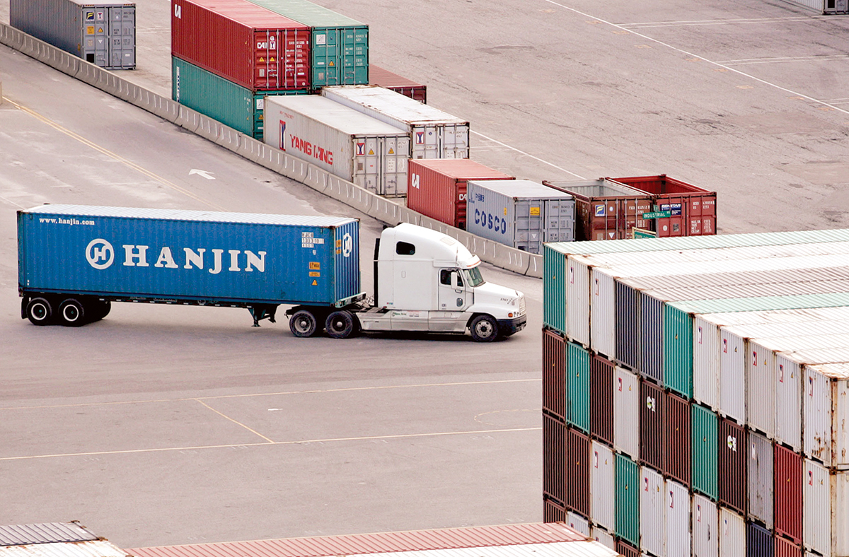 Truck with a Hanjin container at port