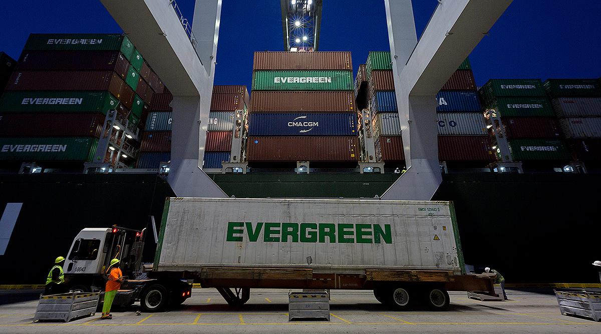 An Evergreen refrigerated truck