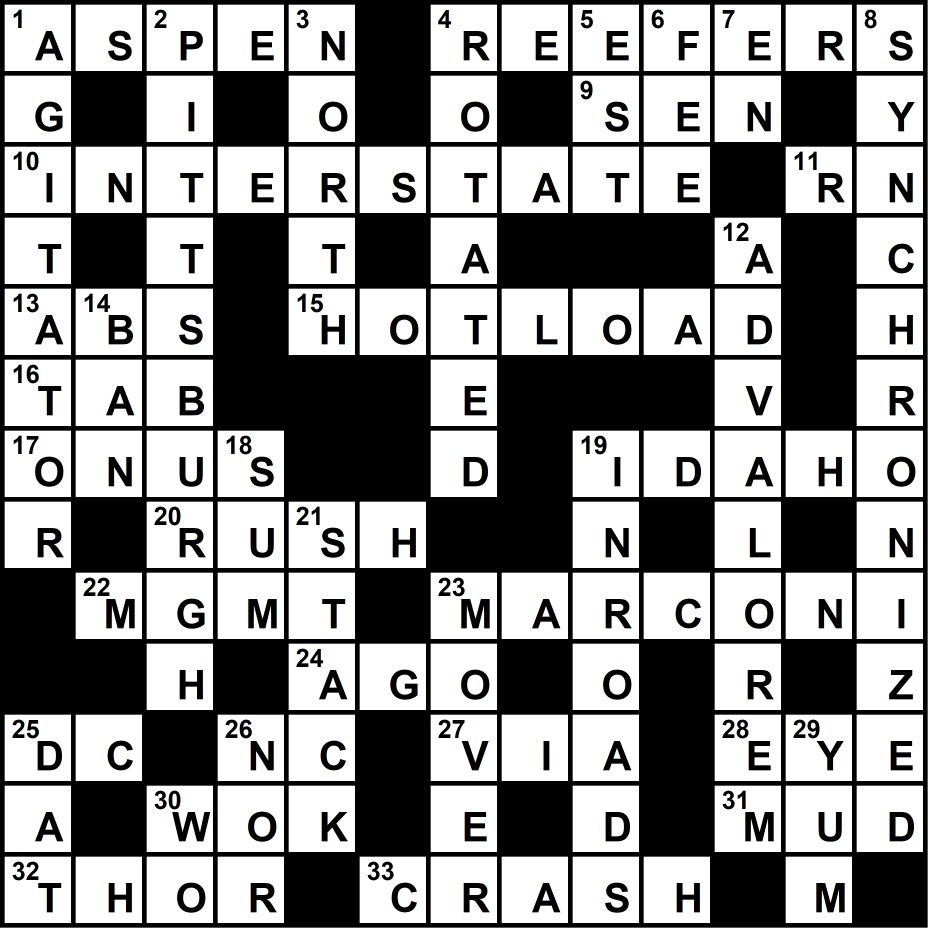 Crossword Puzzle Solution September 3, 2018