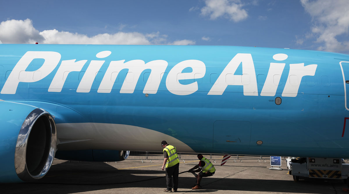 A Prime Air cargo plane operated by Amazon sits on display in France in June 2019.