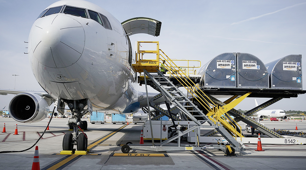 Cargo is loaded into an airplane at the Amazon Air Hub in Cincinnati