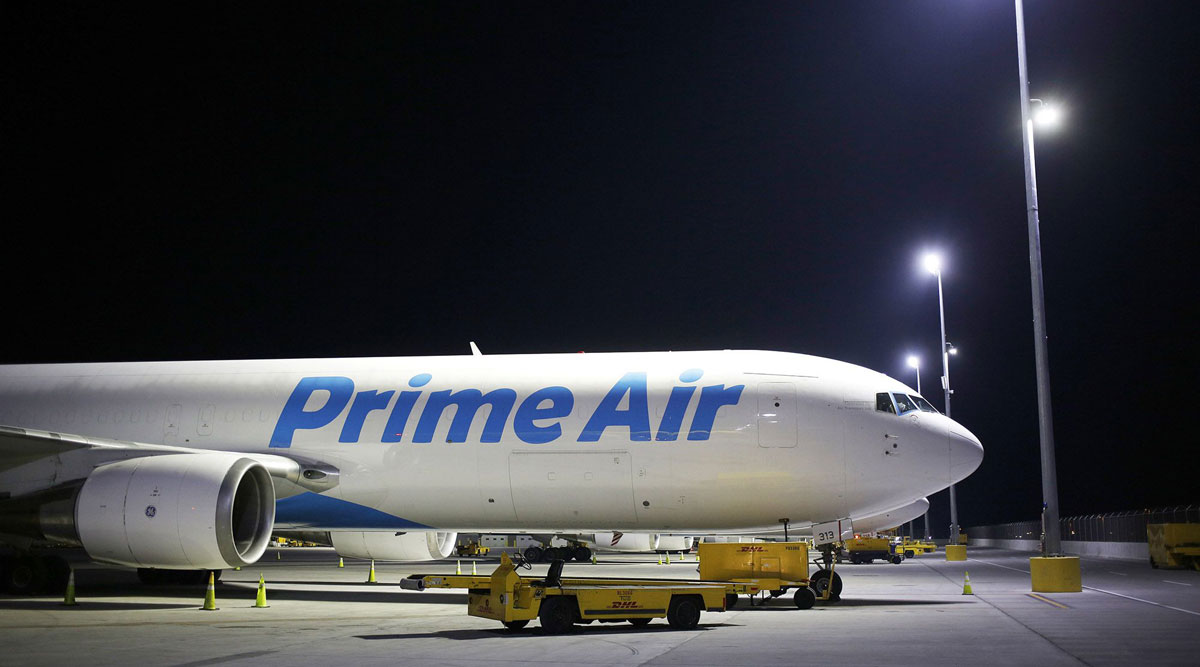 An Amazon Prime Air cargo jet sits at Cincinnati/Northern Kentucky International Airport in Kentucky.