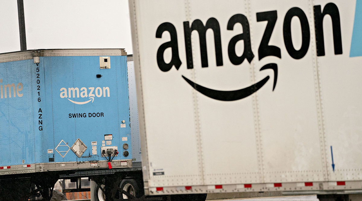 Amazon Prime semi-trailers at a fulfillment center in Baltimore, Md. (Andrew Harrer/Bloomberg News)