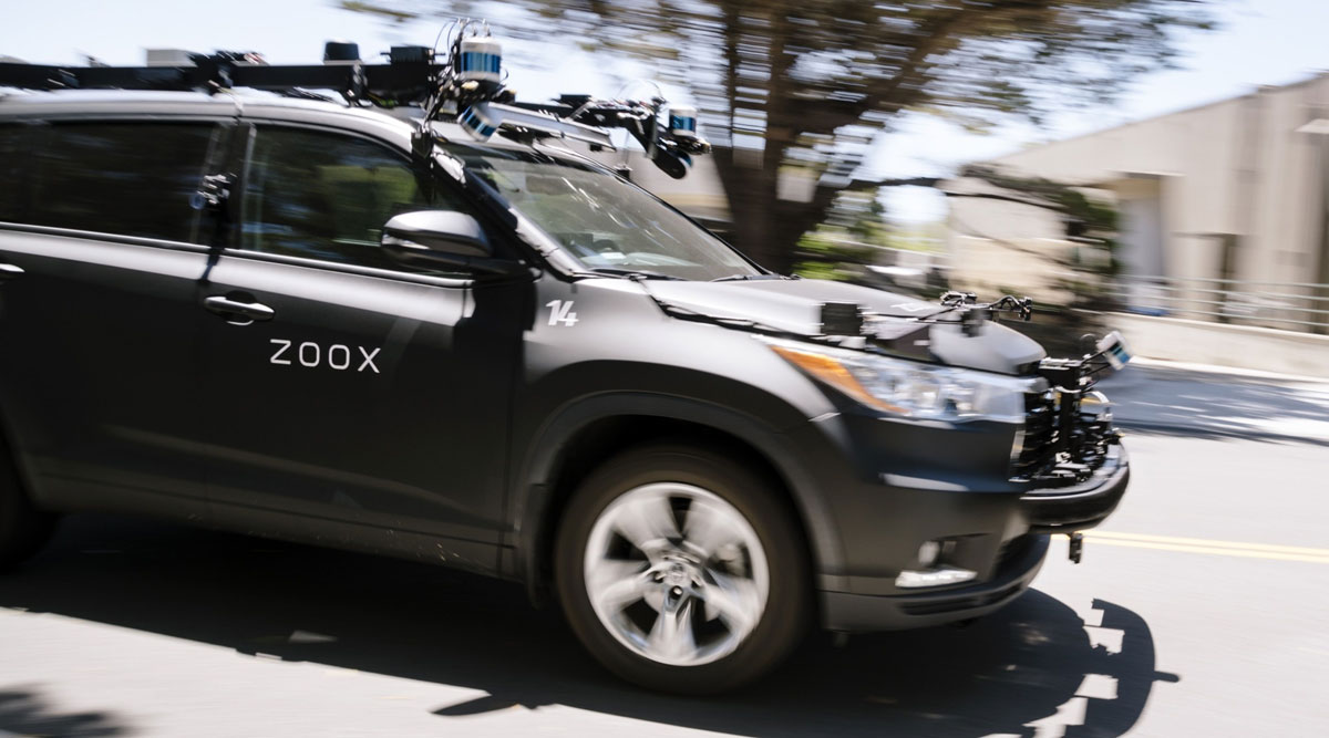 A Zoox self-driving car is operated outside the company's headquarters in California.