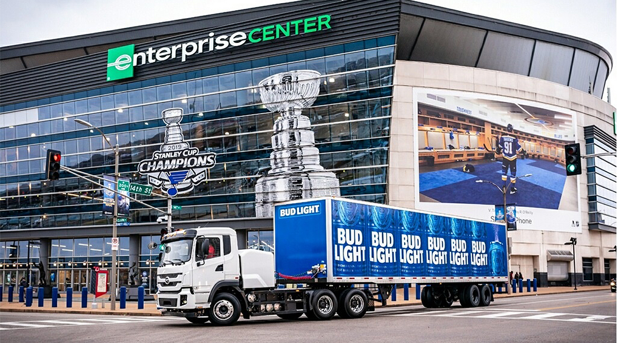 A BYD delivery truck arrives at Enterprise Center in St. Louis.