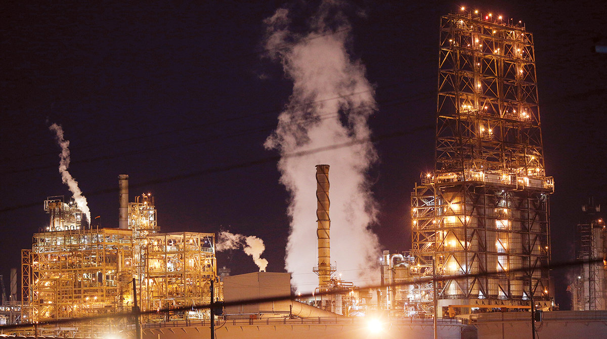 The Royal Dutch Shell Plc Norco Refinery at night in Norco, La.