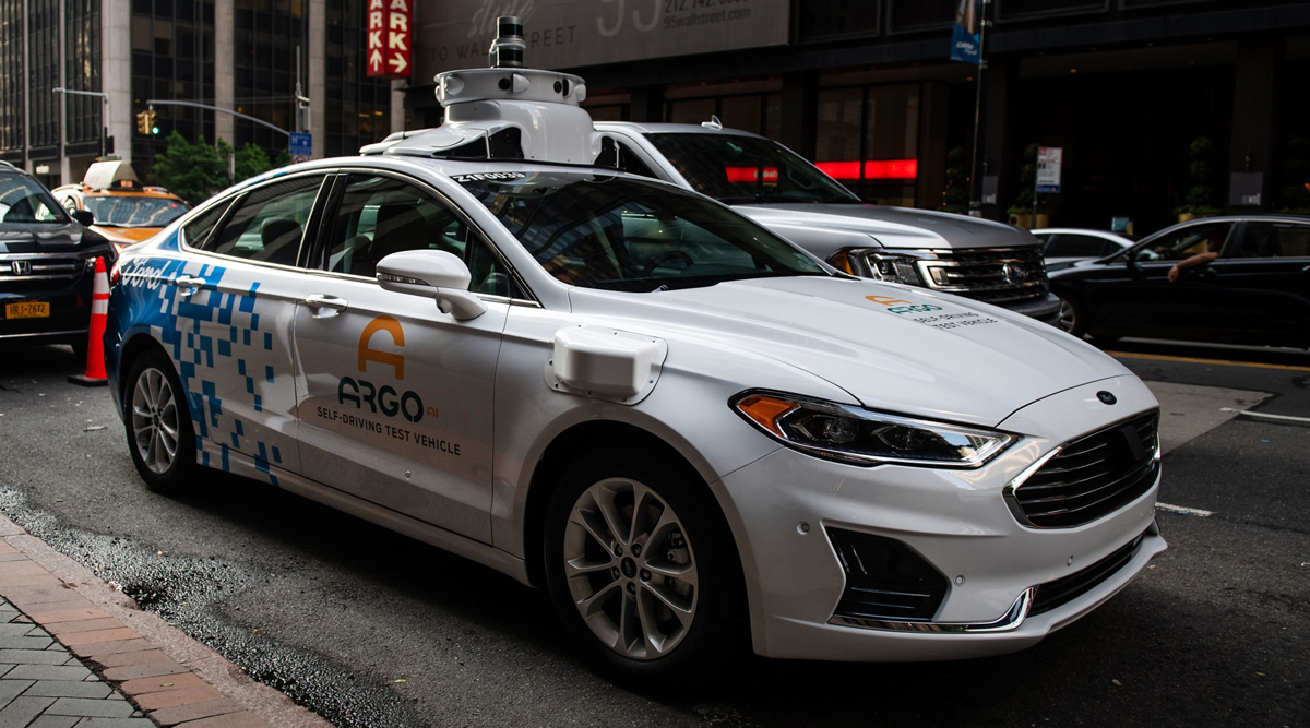 An Argo-modified Ford Fusion autonomous vehicle sits parked in New York in July 2019.