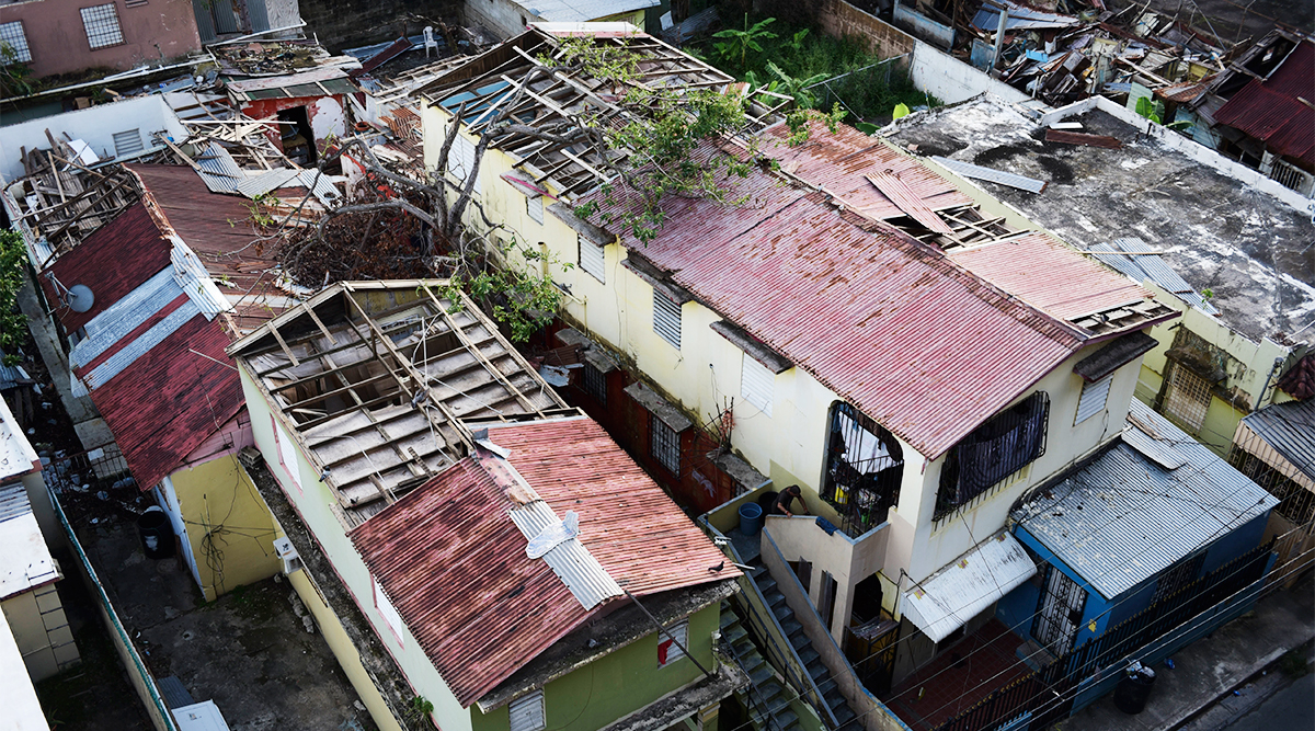 Damaged roofs in Puerto Rico due to Hurricane Maria