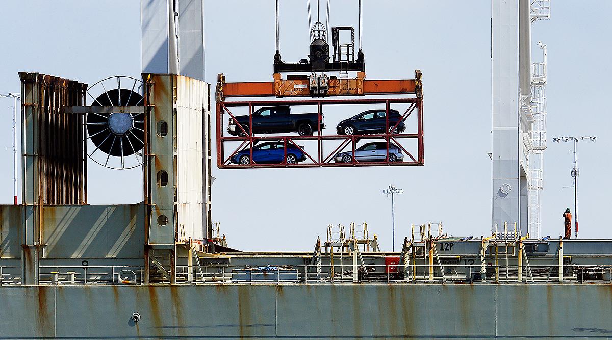 Automobiles on cargo platform