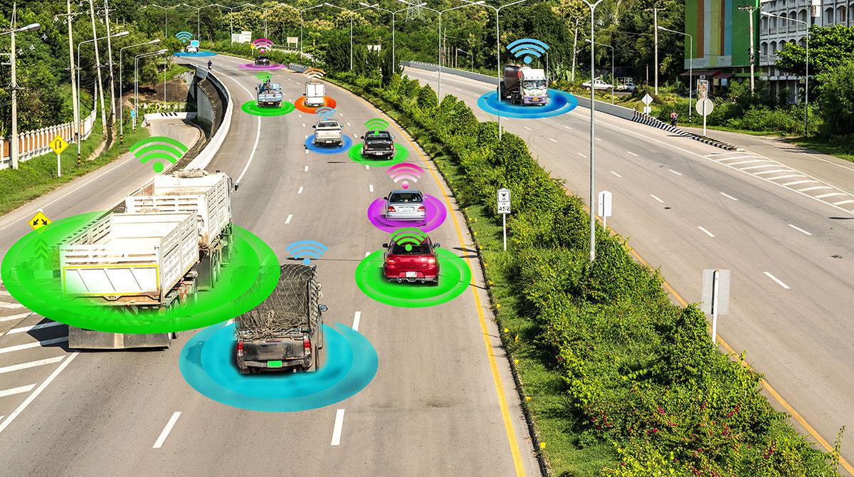 Autonomous vehicles on road concept