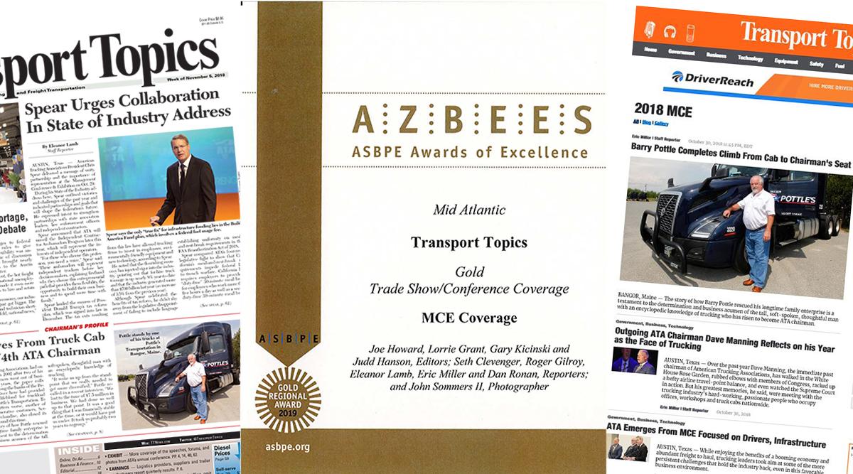 MCE coverage screenshots and Azbee Award