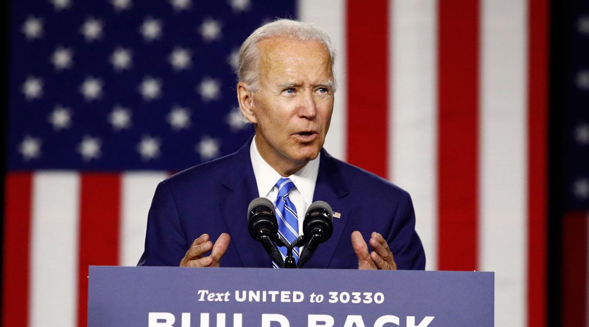 Democratic presidential candidate and former Vice President Joe Biden speaks.
