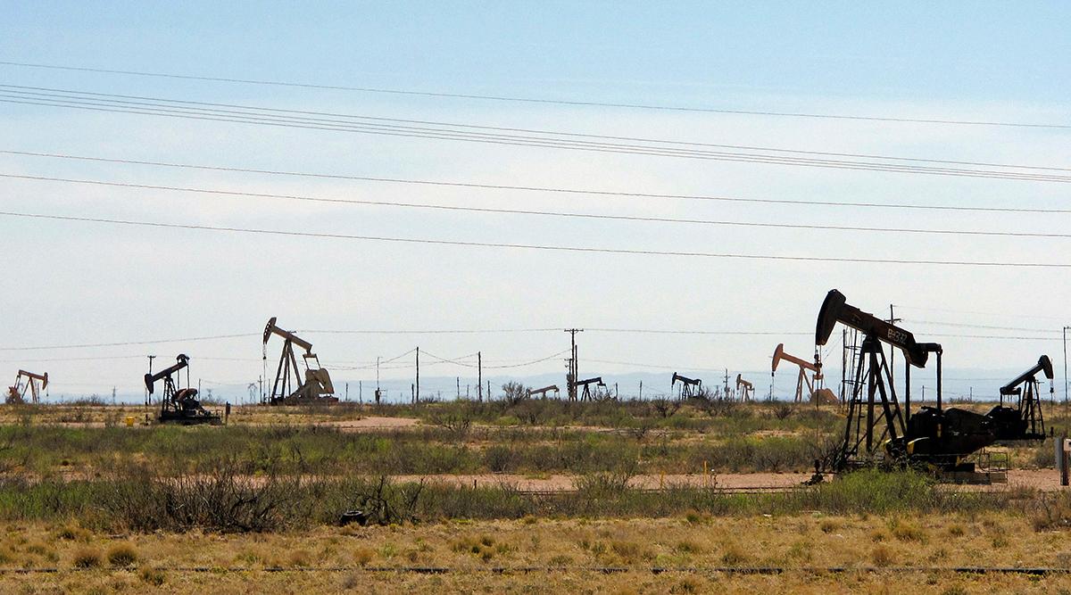 Oil rigs near Artesia, N.M. (Jeri Clausing/Associated Press)