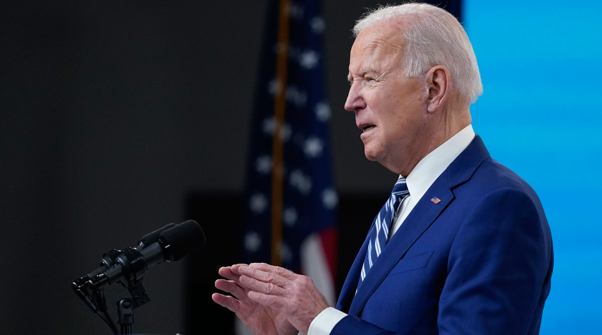 President Joe Biden speaks during an event at the White House campus on March 29. (Evan Vucci/Associated Press)