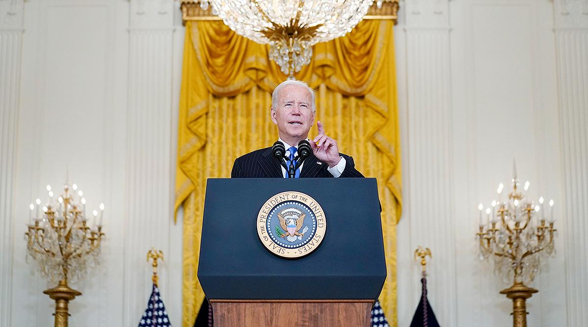 President Joe Biden speaks about addressing the supply chain problem