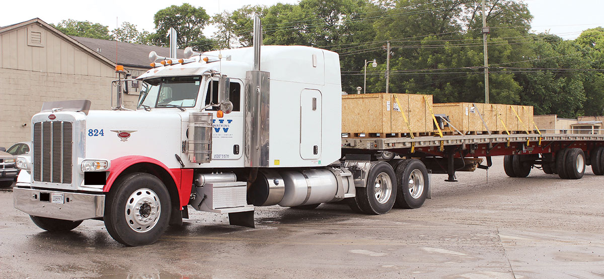 The flatbed truck of an Alabama-based trucking company.