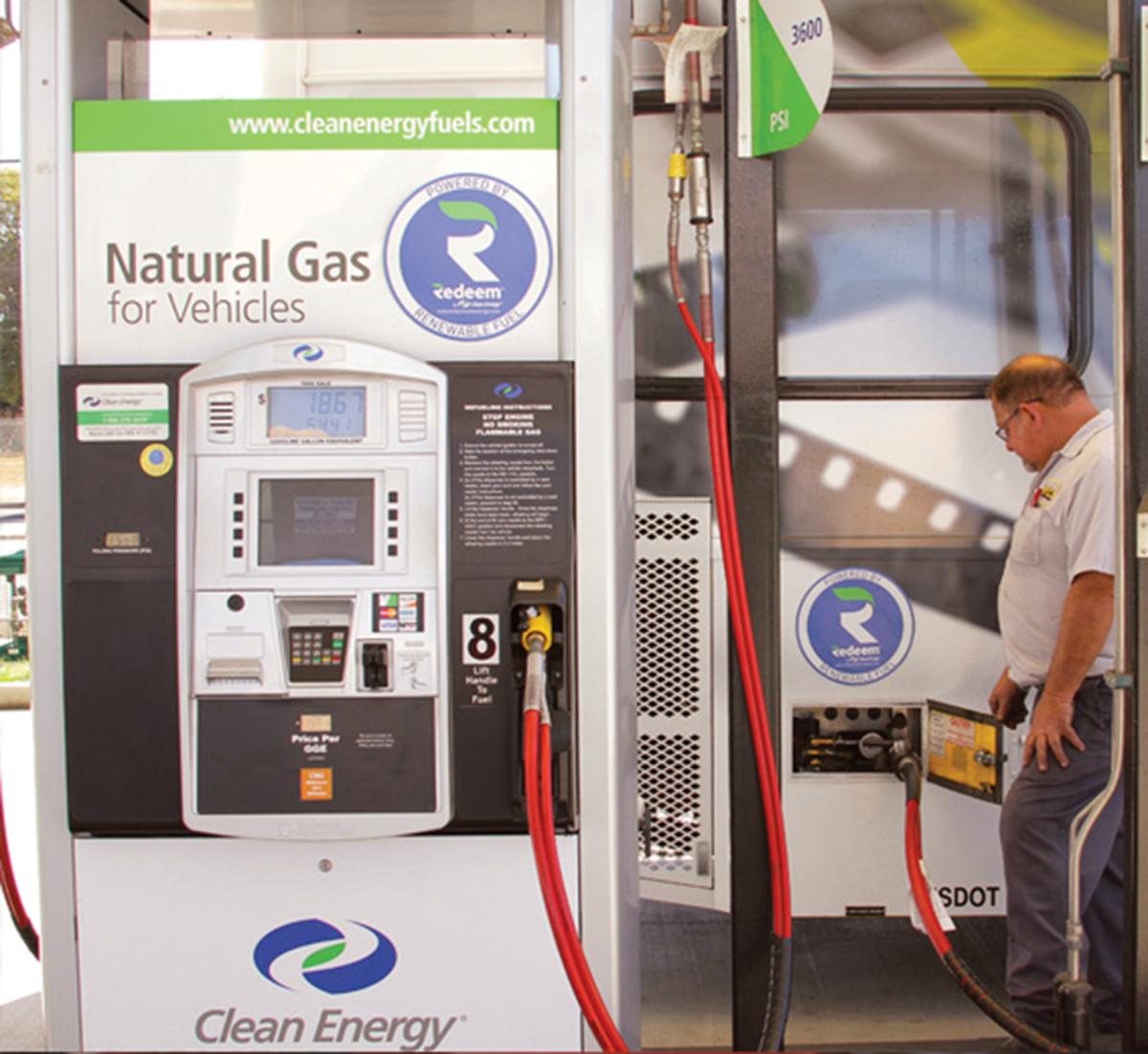 Technician pumps Redeem by Clean Energy Fuels