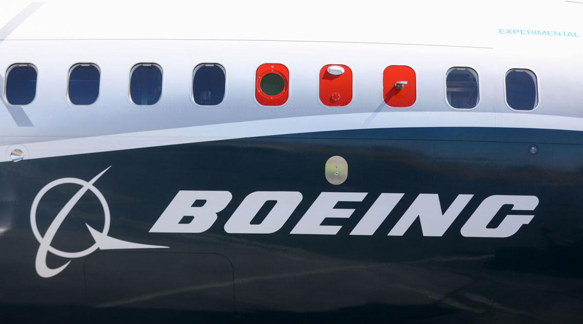 A Boeing 737 Max sits on the tarmac in Farnborough, U.K., in July 2018. (Simon Dawson/Bloomberg News)
