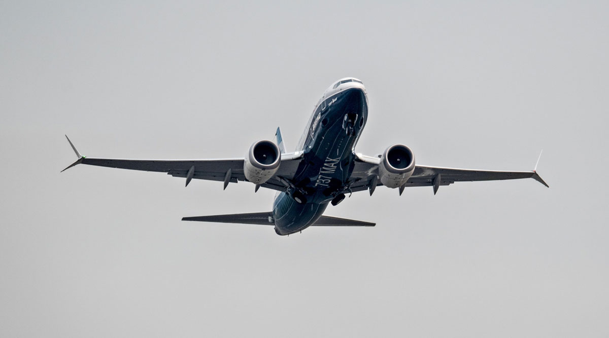 The Boeing 737 Max airplane takes off for a test flight in Seattle on Sept. 30.
