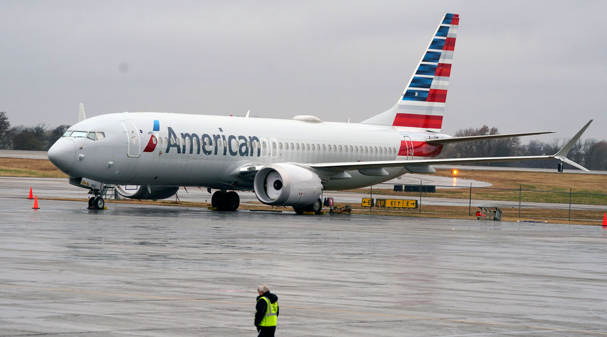 An American Airlines Boeing 737 Max jet plane is parked at a maintenance facility in Tulsa, Okla. (LM Otero/AP)