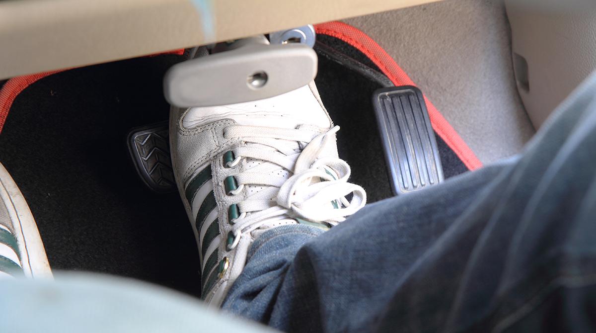 Foot on brake pedal