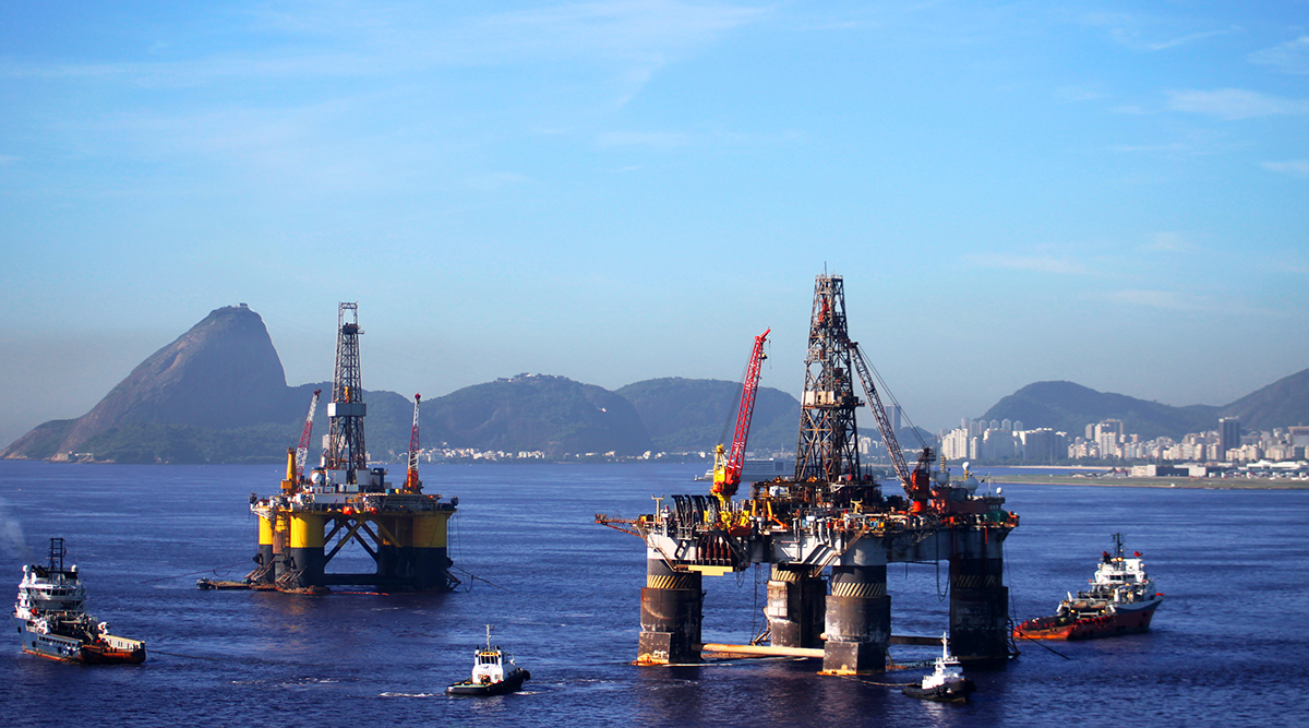 Two oil platforms in Guanabara Bay