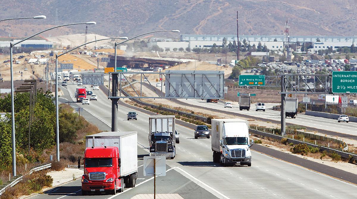 Trucks on Interstate 905 in San Diego
