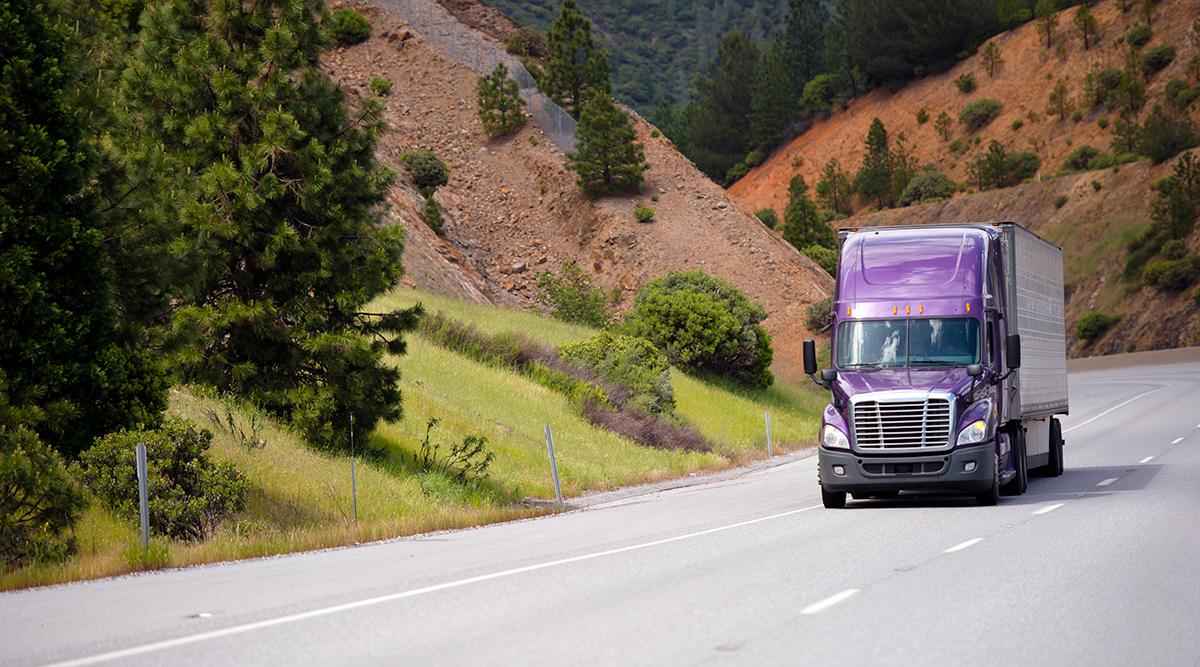 Purple truck on California road
