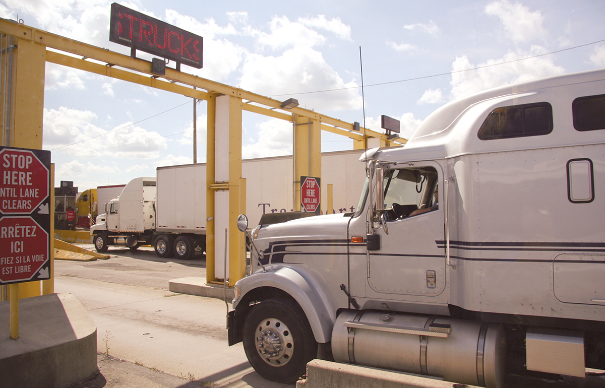 Canadian trucks at the U.S. border