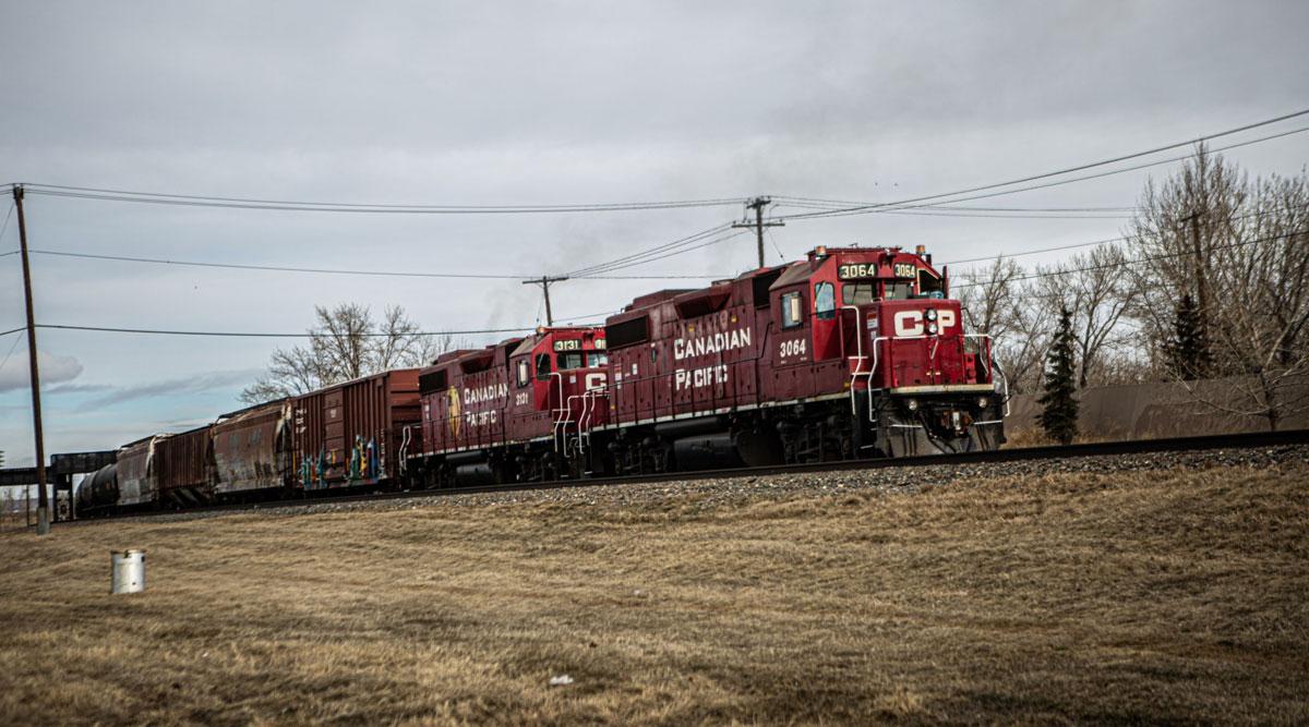 A Canadian Pacific Railway locomotive pulls a train in Calgary, Alberta. (Alex Ramadan/Bloomberg News)