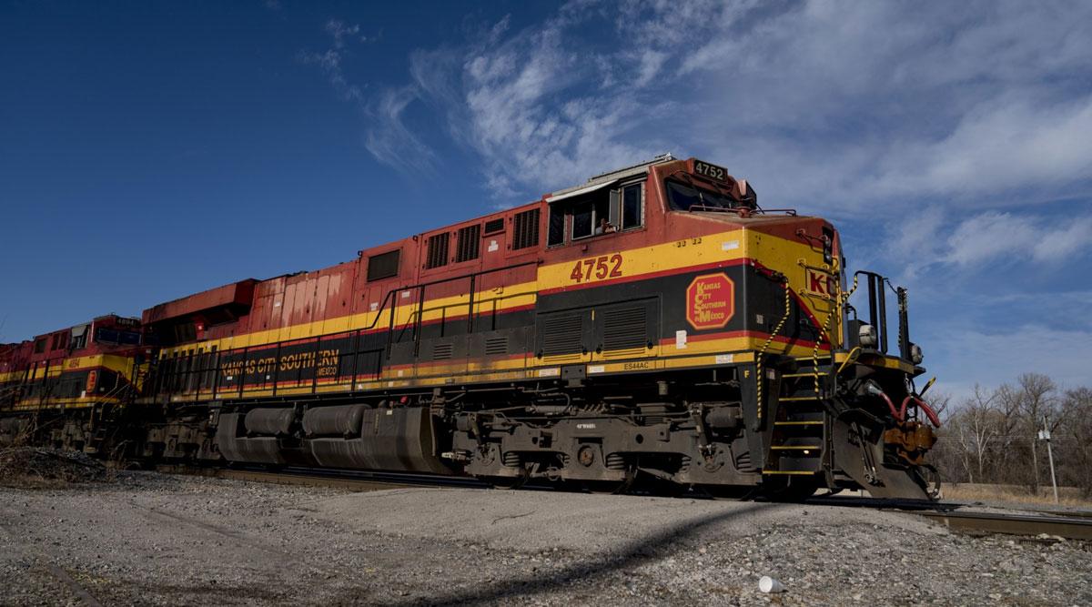 A Kansas City Southern Railway locomotive passes through Kansas City, Missouri. (Whitney Curtis/Bloomberg News)