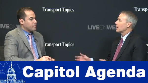 Transport Topics' Eugene Mulero (left), ATA's Bill Sullivan