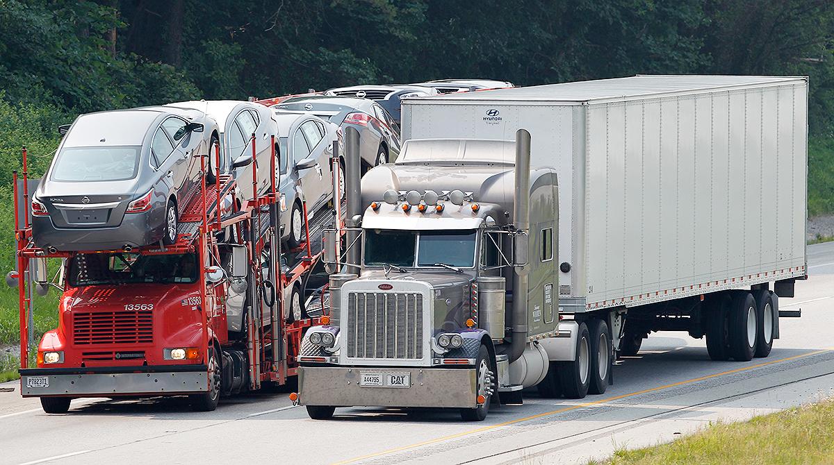 Car hauler on highway