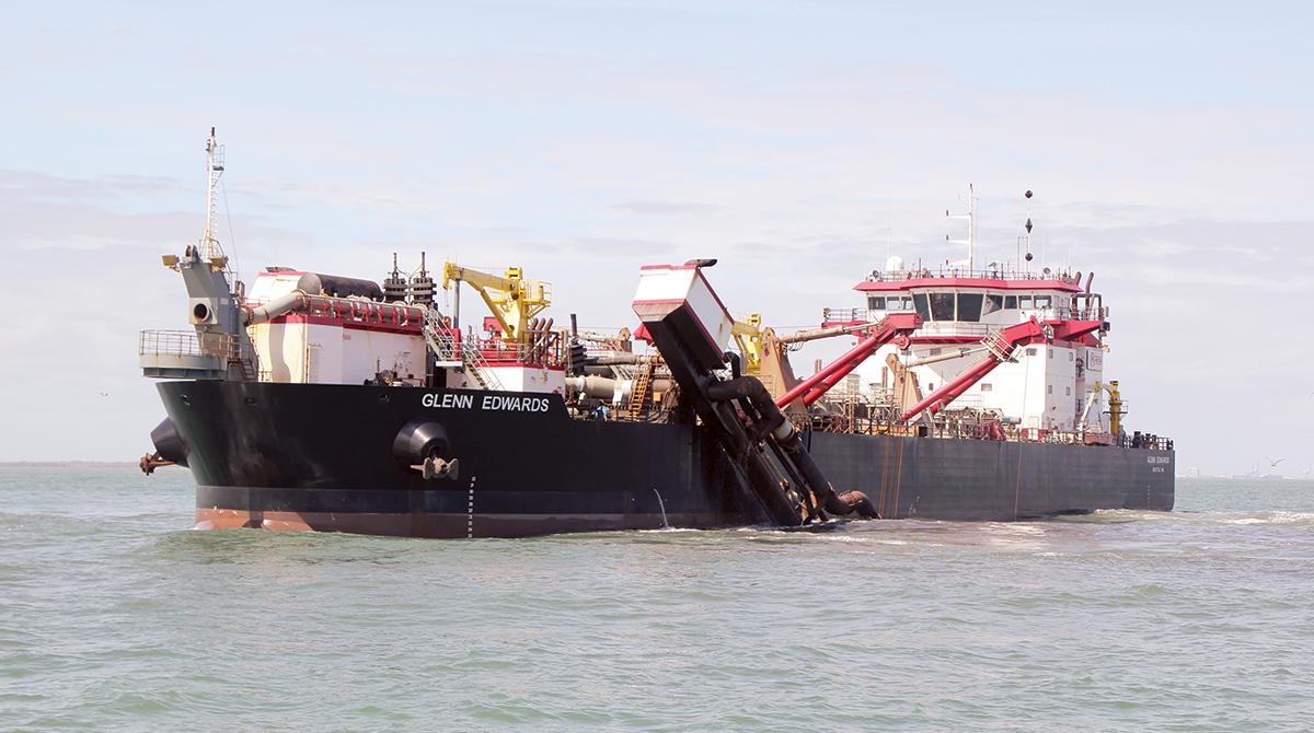 The Glenn Edwards performs dredging operations in Charleston Harbor