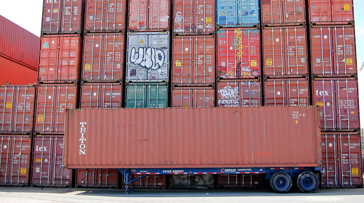Chassis containers at the Port of Oakland