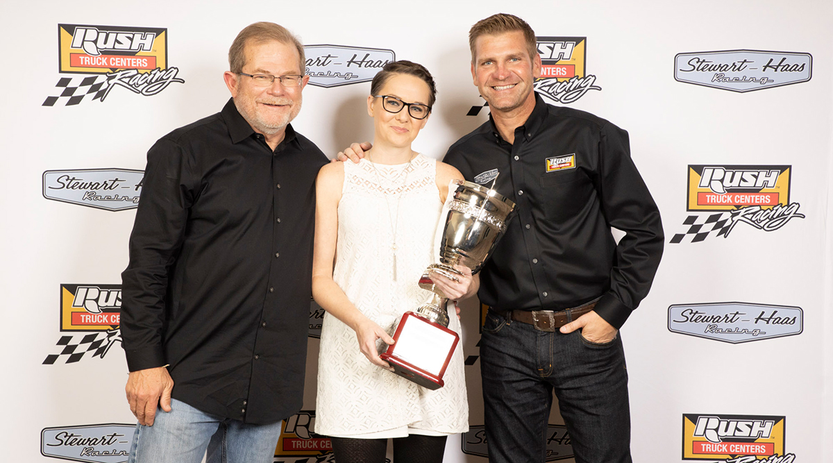 Rebecca Chewning with Rusty Rush and Clint Bowyer