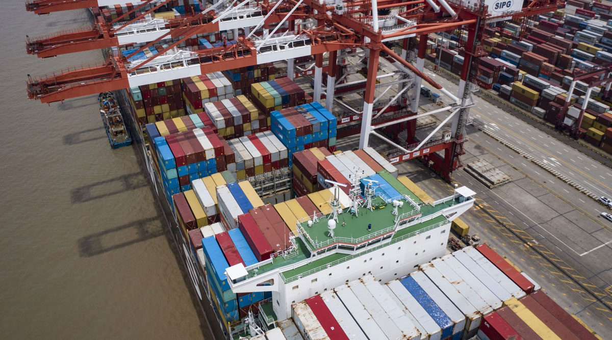 A vessel is docked at the Yangshan Deepwater Port in Shanghai, China, on July 12.
