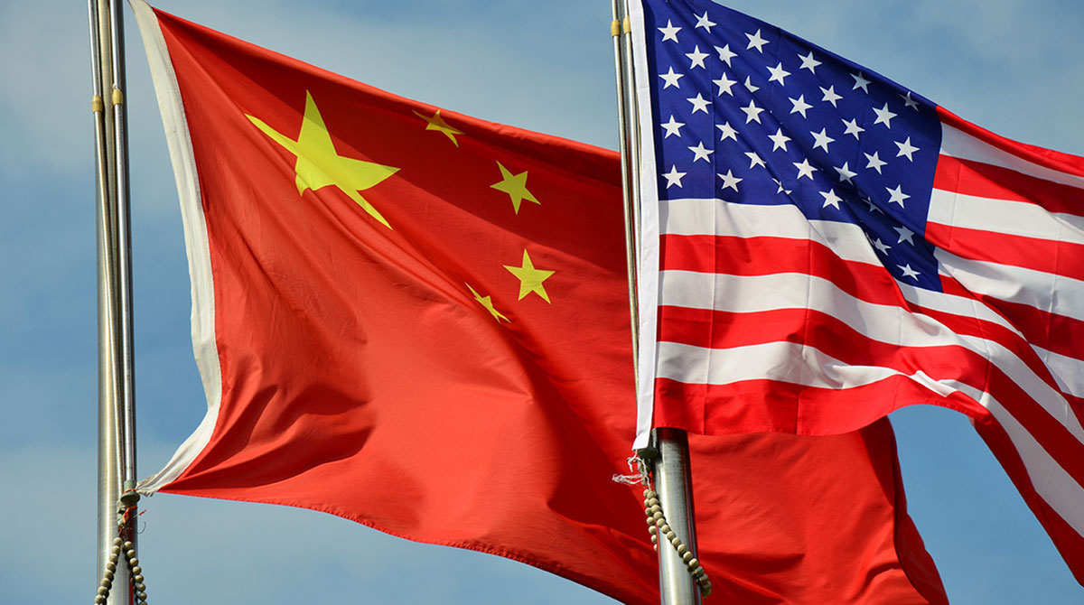Flags of China and the U.S.-tariffs